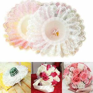 Wedding Bouquet Holder Bridal Floral Flower Handle Lace Edge Collar Decor White