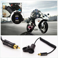 Motorcycle 5V 4.2A Dual USB Power Charger Adapter Blue LED Voltmeter for BMW