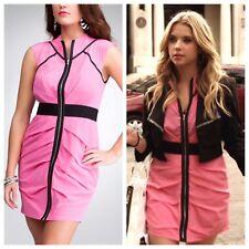 Bebe Dress Pretty Little Liars Hannah Hot Pink Silky Pleated Zip XXS XS 00 0 2
