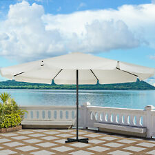 Patio Umbrella Canopy Tilt Crank Sun Shade Aluminium Cream White Φ5M