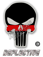 """Thin RED Line Punisher Decal SKULL 8"""" inch Reflective TRL Decal Sticker"""