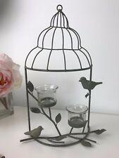 Small Rustic Birdcage T-Lights Holder Branch Lanterns - Bird Candle Holder