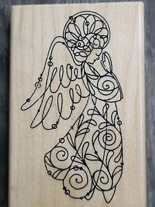 PRAYING ANGEL ANGELICA SWIRL WIRE WORKS OUTLINE Stampendous Wood Rubber Stamp