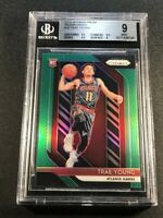 TRAE YOUNG 2018 PANINI PRIZM #78 GREEN CHROME REFRACTOR ROOKIE RC BGS 9 (C)