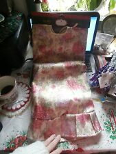 "Vtg Trim A Tree Pink Purple Roses Shimmering Christmas 48"" Tree Skirt"