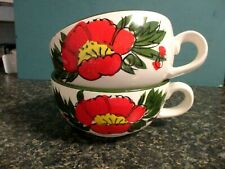 2 Vintage Japan Hand Painted Soup Mugs Bowls Big Poppy Flowers Bright Colors