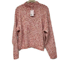 Lauren Conrad Funnel Neck  Cropped Pink Dot Sweater Size L.Multi season.NWT-$50
