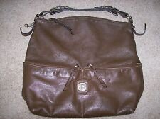 DOONEY & BOURKE Dillen Brown Leather Zipper Pocket Sac Hobo Shoulder Bag
