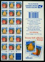2494a Fruit Peaches and Pears Convertible Booklet Pane of 20 (1995) Mint NH