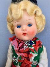 "Vtg 1950's 8"" Painted Lash Ginny Clone""Miss Rosebud""England Swedish Dalarna Doll"