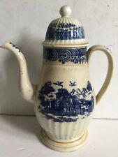 18thc Pearlware Coffeepot Underglase Blue Chinese Scene Chinoiserie