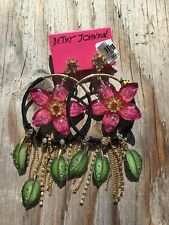 BETSEY JOHNSON Colorful NEW Large Floral Crystal Hoop Chandelier Dangle Earrings