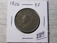 1836 Coronet Head Large Cent,   Extra Fine Cond  Lot# 2020-126