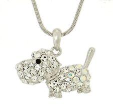 "DOG w Swarovski Crystal Pet Puppy Dogie Pendant Necklace Charm Gift 18"" Chain"