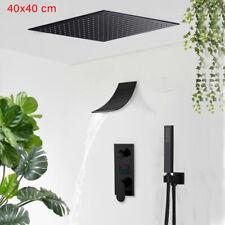 Schwarz LED 40cm Unterputz Armatur Badewanne Regendusche Set Duscharmatur Brause