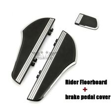 Black CNC Defiance driver Footboards Kit + brake pedal cover for harley touring