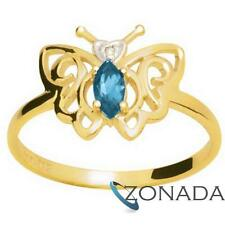 Blue Topaz Diamond 9ct 9k Solid Yellow Gold Engagement Ring Size P 7.75 24661/BT