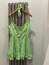 Zara Green Floral Culotte Short Playsuit With Matching Hairband Size L