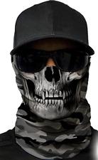 MOTORCYCLE FACE MASK - MILITARY SKULL GREY - (Moto, Hunting, Fishing, Paintball)