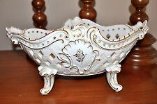 Estate VON SCHIERHOLZ German Porcelain Lg Bowl White Hand Painted Gold Floral