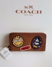 COACH ACCORDION ZIP WALLET F59340 IN GLOVE CALF LEATHER W MICKEY PATCHES