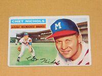 VINTAGE OLD 1950S BASEBALL 1956 TOPPS CARD CHET NICHOLS MILWAUKEE BRAVES