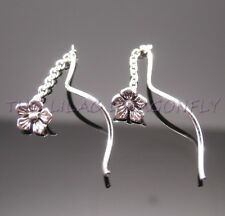 925 Silver Daisy Flower Pull Through Curled Chain Threader Earrings Gift Bag UK