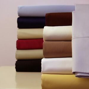 Luxury Soft Solid Attached Waterbed Sheet Set 650 TC Cotton Blend Deep Pocket