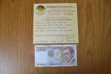 BANCONOTA LIRE 2000 MARCONI 1990 TRIPLA AA A NON COMUNE certificata FDS