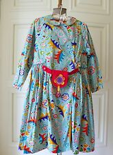Beautiful Vtg OILILY Blue Print/Lined Girls Dress Size 152