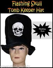 TOMB KEEPER Flashing SKULL Black Top HAT Halloween Horror Spooky Costume Party