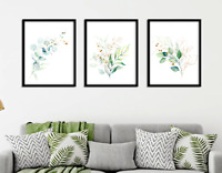 Eucalyptus Botanical Prints Set of 3 Green Gold Wall Art Home Decor Watercolour