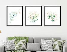 Eucalyptus Botanical Prints Set of 3 Green Gold Wall Art Home Decor Watercolour