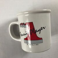 Number One Tennis Player Coffee Mug VTG 1983 Cup #1 Gift Drink Clay In Mind 80s