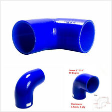 "1 Pcs Blue 3"" To 3"" 76mm Car Vehicle Silicone 90° Elbow Reducer Turbo Pipe Hose"
