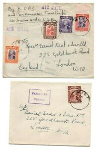 SARAWAK STAMPS & POSTMARKS ON COVERS POSTED MIRI TO UK C.1940