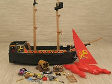 Vintage Playmobil Blackbeards Pirate Ship Sail Boat Many Parts But Incomplete