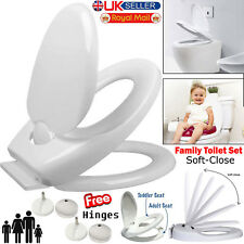 NEW Friendly Soft Close Toilet Seat Child Family Quick Release Top Bottom Hinges