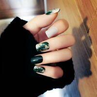 False Nails Press On Green Marble Elegant Designed Manicure Art Decoration 24pcs