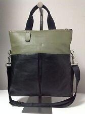 Coach Men's Foldover Smooth Leather Black/Surplus Green Crossbody Tote F71722