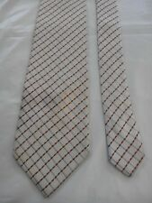 Aquascutum London Men's Vintage Silk Tie in Cream with a Blue an Orange Pattern