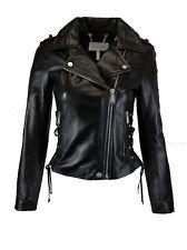 BCBGeneration Women's Moto Leather Jacket with Lace-up Sides