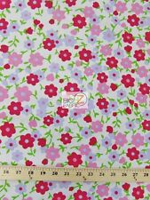 """PLAIN FLOWER PRINT POLY COTTON FABRIC - White/Red Pink Lavender Flowers-59"""" P261"""