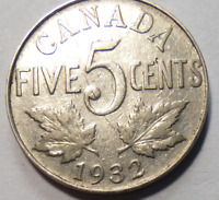Coin - 1932 Canada 5 Cents - 5C - George V - Nickel - Near 2          Envelope 2