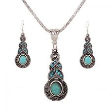 Women Tibet Silver Crystal Turquoise Necklace+Earrings Jewelry Set Pendant