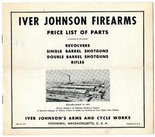 Original 1951 Iver Johnson Gun Parts Price List Catalog Booklet Revolver Shotgun