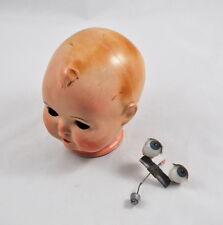 Puppenkopf Schildkröt 45 mit Augen (blau) & Wimpern (Kopf, Head, doll)
