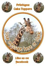 ND3 Giraffe  personalised round cake topper icing edible