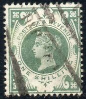 1887 Sg 211 1s dull green with parcels Cancellation Fine Used