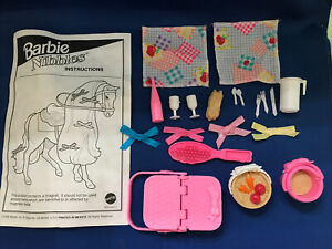 """Vintage Barbie Doll """"Nibbles the Horse"""" Stable & Picnic Accessories Lot"""